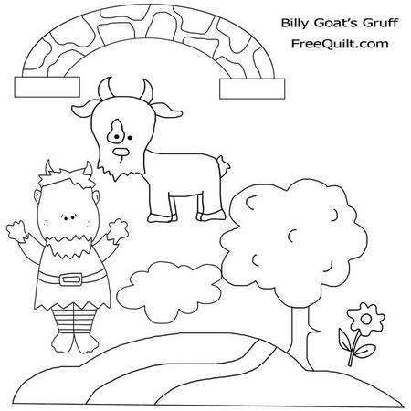 Three Billy Goats Gruff – Printable Clip Art, Black & White