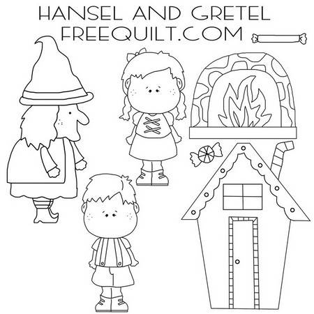 Hansel and Gretel Clip Art with Witch, Gingerbread House