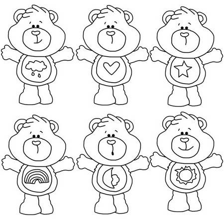 Bears That Care – Black and White Clip Art to Color or Craft