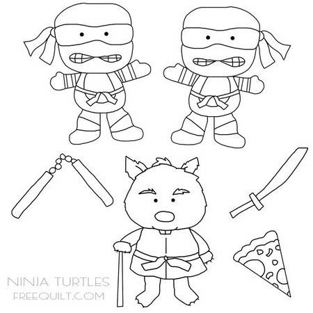 Ninja Turtles Clip Art – Characters in Black and White