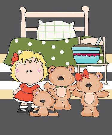 Goldilocks and the Three Bears, Free Outline in Black & White to print or download at FreeQuilt.com
