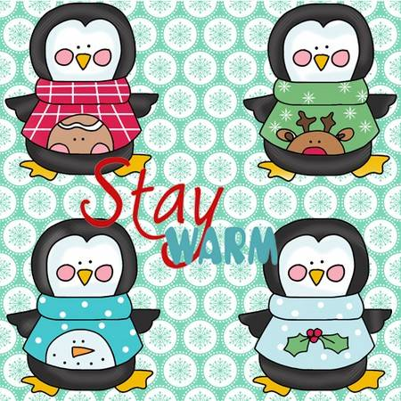 Pengiuns in Sweaters Applique Pattern
