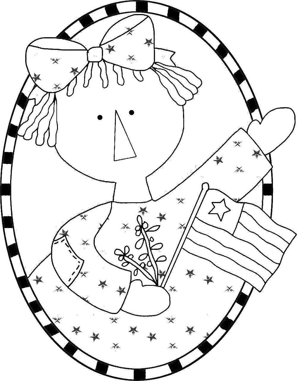 Raggedy Ann with Flag Template, Printable Pattern, Stencil