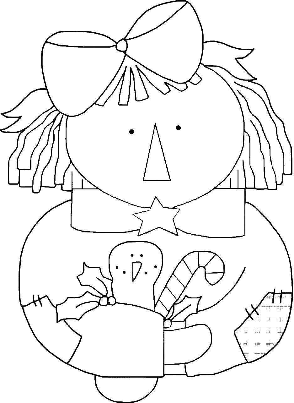 Raggedy Ann Doll Outline with Snowman Template, Clip Art