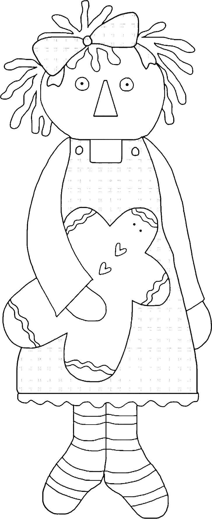 Adorable Raggedy Ann with Gingerbread Man Template - Clip Art