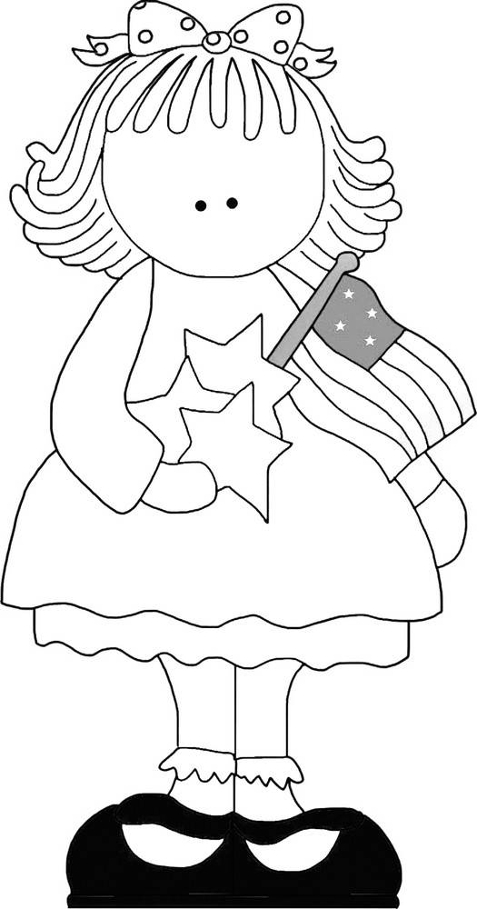 4th of July Patriotic Pattern - Line Art, Seasonal Applique