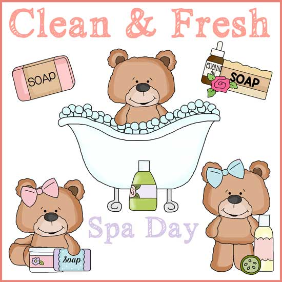 Spa Clip Art - Clip Art of 3 Bears Having a Spa Day