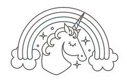 Unicorn Coloring Page - Template with Rainbow