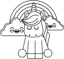 Unicorn Coloring Page - Rainbow and Clouds