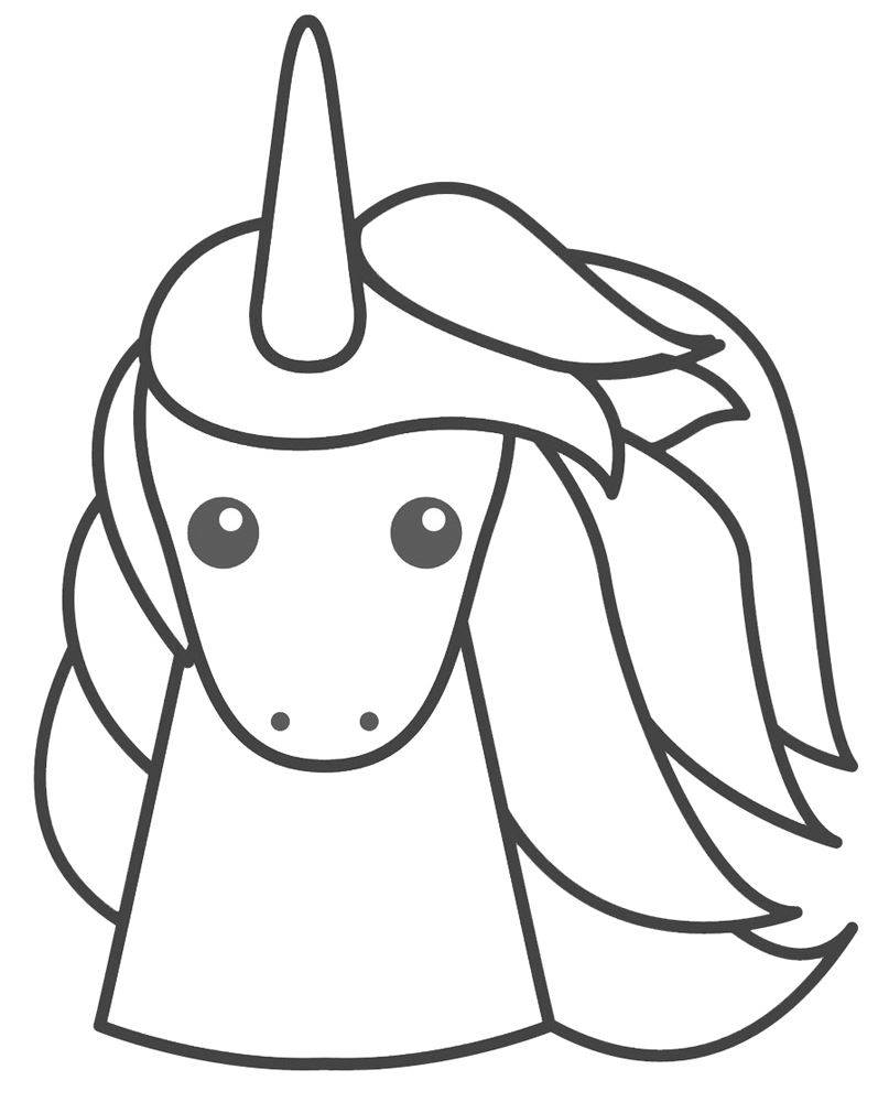 Unicorn Line Drawing - Unicorn Head Outline, Coloring Page