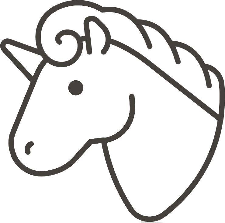 Unicorn Head Outline | Easy Unicorn Drawing, Coloring Page